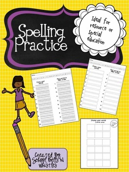 Spelling Practice for Resource or Special Education