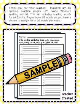 Spelling Practice for Third Grade Wonders Curriculum | Units 1 to 6