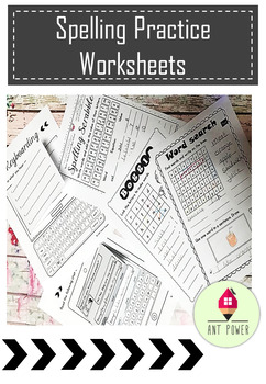 Spelling practice worksheets w/ editable interactive templates