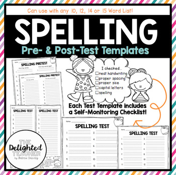 Spelling Pre- & Post-Test Templates {with Self-Monitoring Checklist}