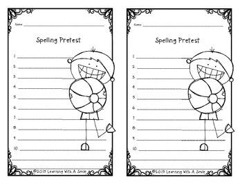 Spelling Pretest Papers FREEBIE: 10 Words/1 Sentence Template