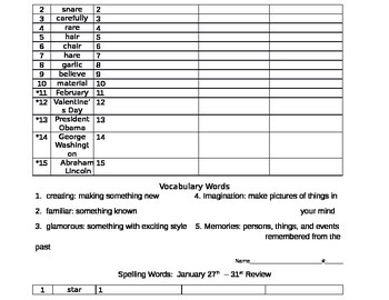Spelling Pretest Template with Vocabulary