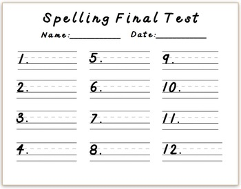 Spelling Pretest/Test