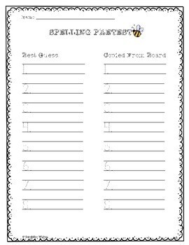 Spelling Pretests and Tests - Dotted Lines