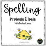 Spelling Test Paper with Pretests - Dotted Lines