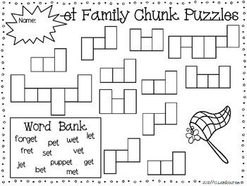 Spelling Print & Practice -et Family Chunk Mini Pack
