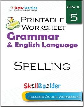 Spelling Printable Worksheet, Grade 5