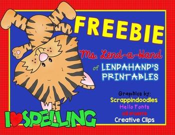 Spelling Printables  by Ms. Lendahand:)
