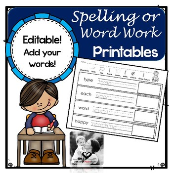 Spelling Work Printables (Editable)