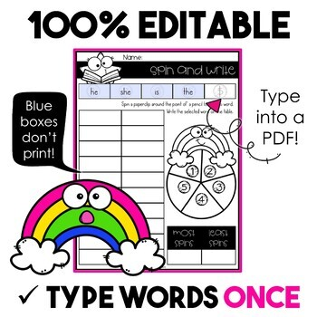 EDITABLE Spelling Activities for ANY Five or Ten Word List