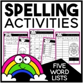 Spelling Activities for Five Word Lists | EDITABLE
