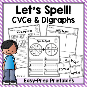 SPELLING WORKSHEETS AND GAMES  Long Vowels (CVCe) and Digraphs