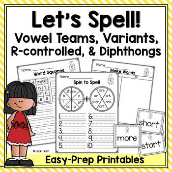Spelling Worksheets & Games - Vowel Teams, Variant & R-Controlled Vowels & More