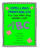 Spelling Printables for use with Any Word List