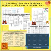 Spelling Puzzles & Games Bundle Grade 2&3 Interactive (4 p