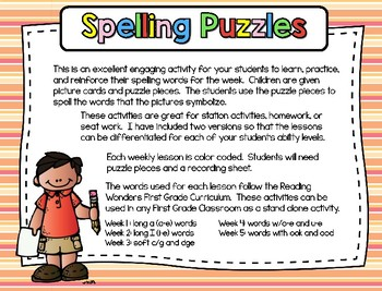 Spelling Puzzles Unit 3 - First Grade - Reading Wonders