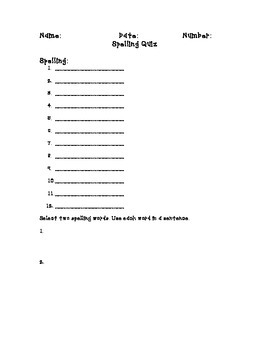 Spelling Quiz Form