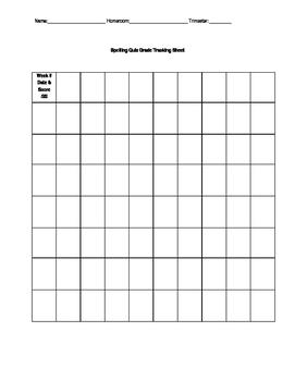 Spelling Quiz Grade Student Tracking Sheet