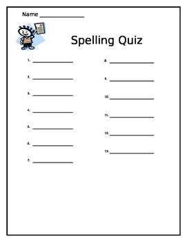 Spelling Quiz Paper