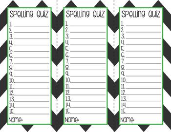 Spelling Quiz Sheets