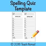 Spelling Quiz Template Paper