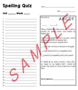 Spelling Quiz Template- Reading Street