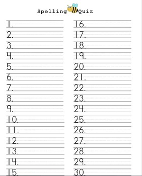 Spelling Quiz form for 30 Words with dotted Rule Lines