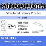 Spelling R-Controlled EXCEPTIONS - Games and Activities