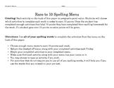 Spelling Race to 10 Menu
