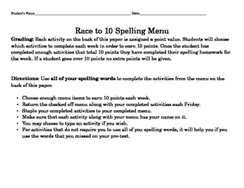 Spelling Race to 10 Menu