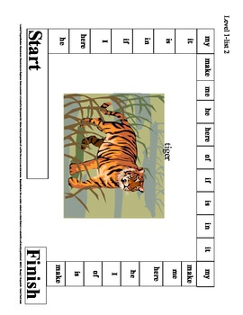 Spelling & Reading High Frequency Sight Word Game Boards Level I List 2