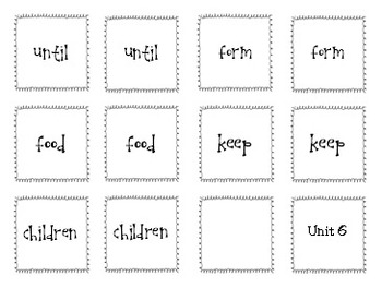 Spelling - Rebecca Sitton 3rd Grade - Core Word Matching Game Units 1-9