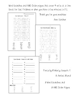 Rebecca Sitton Spelling - Word Search/ABC Order - Level 3 - Updated!!