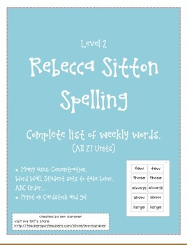 Spelling - Rebecca Sitton Level 2 - Core Word Master List