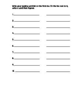 Spelling Recording Sheets for Homework