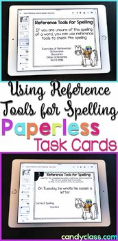 Reference Tools for Spelling Digital Task Cards - Paperless Option