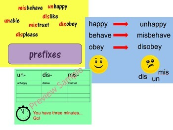 Spelling Resources to teach the prefixes un- mis- and dis-