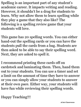 Spelling Review Game: See It, Say It, Spell It