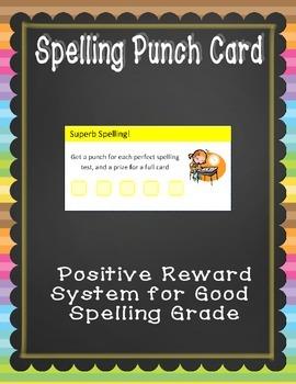 Spelling Reward Punch Card