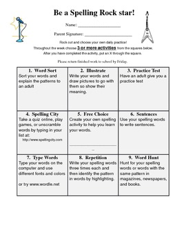 Spelling Rockstar Homework tic-tac-toe sheet