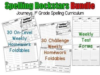 Spelling Rockstars Homework Foldables ~ Journeys 1st Grade Spelling Bundle