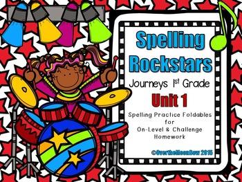 Spelling Rockstars Homework Foldables ~ Journeys 1st Grade-Unit 1
