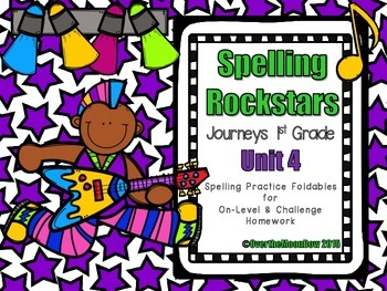 Spelling Rockstars Homework Foldables ~ Journeys 1st Grade-Unit 4