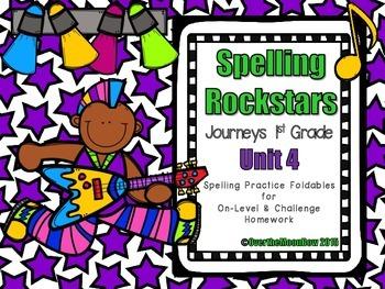 Spelling Rockstars Homework Foldables ~ Journeys 1st Grade-Unit 4