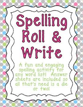 Spelling Roll & Write