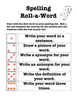 Spelling - Roll a Word