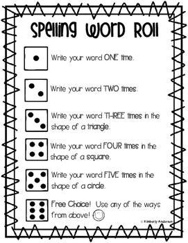 Spelling Word Roll - Word Work / Word Study Center
