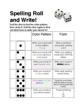 Spelling Roll and Write