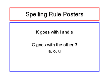 Spelling Rule Printable: K goes with i and e, C goes with the other 3 a, o, u