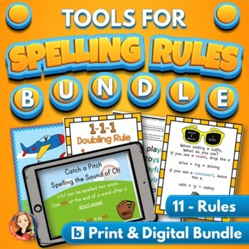 Spelling Rules Activities Practice Bundle with Digital Distance Learning